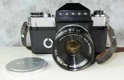 CANON'S 1st SLR - CANONFLEX 35mm FILM CAMERA, SUPER-CANOMATIC R 50mm LENS AS-IS