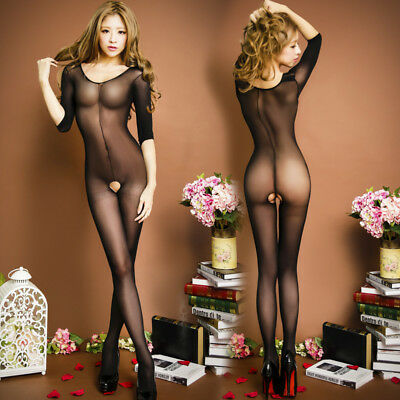 Women 3/4 Sleeve Net Yarn Lingerie Bodystocking Clothes Intimate Fetish Lingere