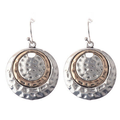 Women National Style Silver Big Round Bronze Inlay Dangle Earrings Cool Vintage