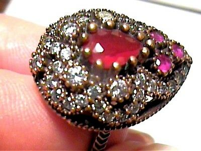Vintage Antique Ruby Silver Ring 7  Medieval Sapphire Sterling 925 Cocktail Nice