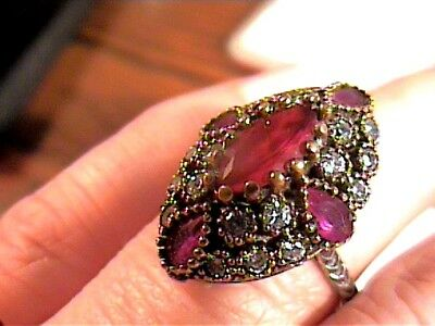 Vintage Antique Silver Ring 9 Medieval Sapphire Sterling 925 Cocktail