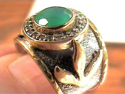 Vintage Antique  Emerald Silver Ring 7 Medieval Round Sapphire Sterling 925