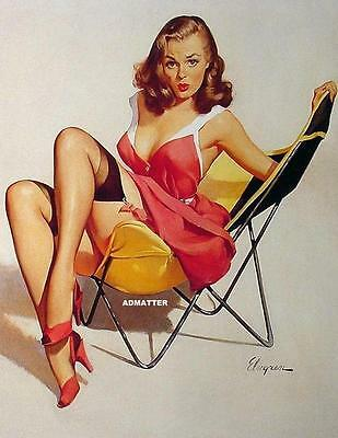 Gil Elvgren 2-SIDED 8 1/2X11 Pin-up Girl Poster Cowgirl on other side Very Sexy!