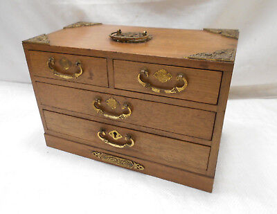 Vintage Decorative Brass Wooden Sewing Jewellery Box Chinese Circa 1950s #813