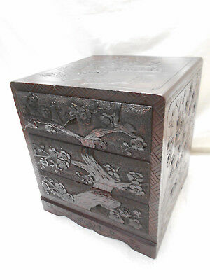 Vintage Kiri &Sugi Wood Dresser Jewellery Box Japanese Drawers Circa 1930s #815