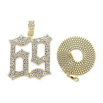 """New Iced Out '69' Pendant & 24"""" Box/Cuban/Rope Chain Hip Hop Necklace - Xz268"""