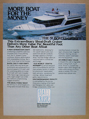 1984 Boatel 51 Cruiser boat houseboat photo vintage print Ad