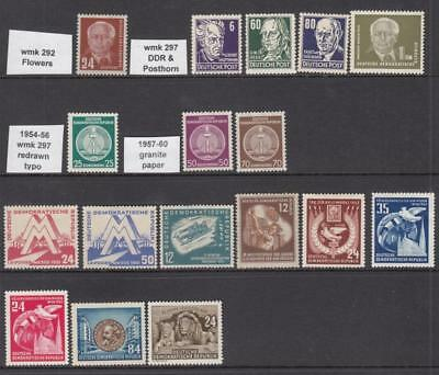 Germany DDR pre-1960 mint hi val selection 16 diff stamps cv $99.45