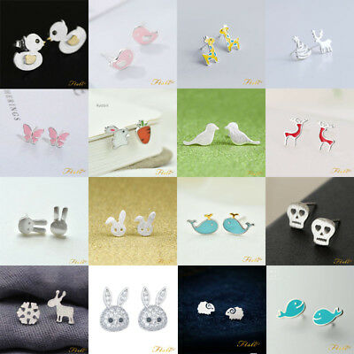 Girls ladies 925 sterling silver studs earrings butterfly cat dog bee flamingo
