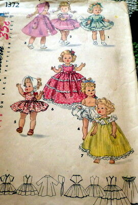 "GREAT VTG 1950s 8"" DOLL CLOTHING SEWING PATTERN"