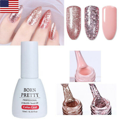 10ml Rose Gold Glitter Nail Gel Polish Sequins Soak Off Manicure DIY BORN PRETTY