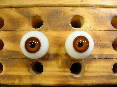 a pair vintage doll glass eyes size 18 mm for bisque doll doctor age 1910 A. 968