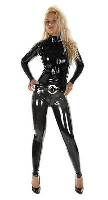 MEDIUM 100% Latex Rubber BLACK Catsuit Second Skin Top Quality *HOT* Body Suit