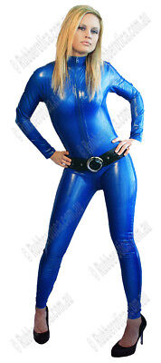 LARGE 100% Latex Rubber BLUE Catsuit Second Skin Top Quality *HOT* Body Suit