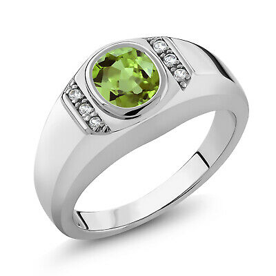 1.39 Ct Oval Green Peridot White Created Sapphire 925 Sterling Silver Men's Ring