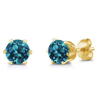 1.50 Ct Round 6mm London Blue Topaz Brass Yellow Gold Plated Brass Stud Earrings