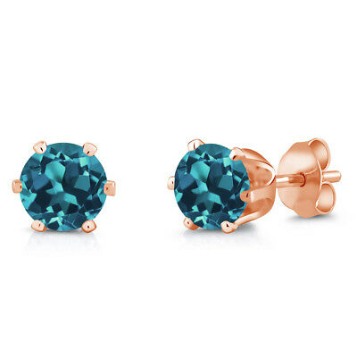1.50 Ct Round 6mm London Blue Topaz Brass Rose Gold Plated Brass Stud Earrings