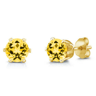 Brass Yellow Gold Plated Brass Stud Earrings Set with Honey Topaz from Swarovski