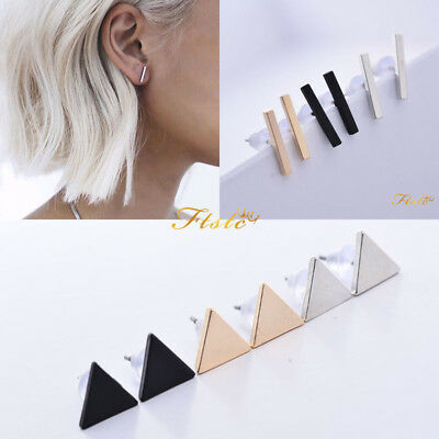 New Minimalist Surgical Steel Silver Thin Dainty Bar Stick Line Stud Earrings