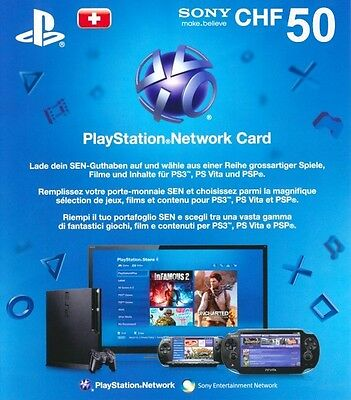 50 CHF Playstation Network Card Karte PSN CHF Code Guthaben ps3 ps4 SOFORT MAIL