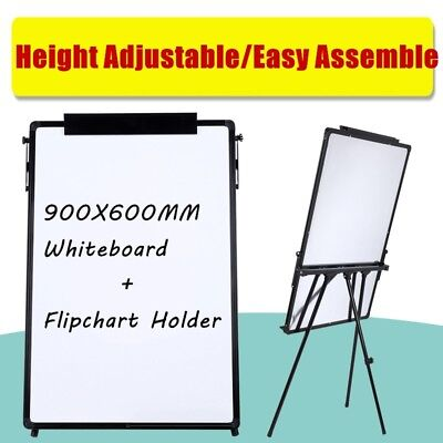 PORTABLE FLIP CHART EASEL STAND TRIPOD MAGNETIC WHITEBOARD DRY WIPE 900 x 600MM