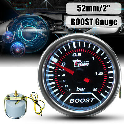 2'' 52MM LED Universel Gauge Turbo Boost Pression Manomètre Vacuum Gradué Auto