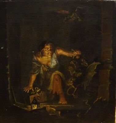 18th Century Witch & Demons Witchcraft Occult Antique Oil Painting Devil Worship