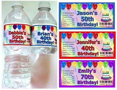 20 ~ 40th 50th 60th 70th BIRTHDAY PARTY FAVORS Water Bottle Labels - Glossy