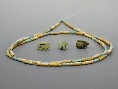 Egyptian Faience Amulets & Necklace (54G)