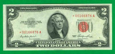 "$2 1953-A 1 */a Block Red Seal United States Note Cu. ""rare Star"""