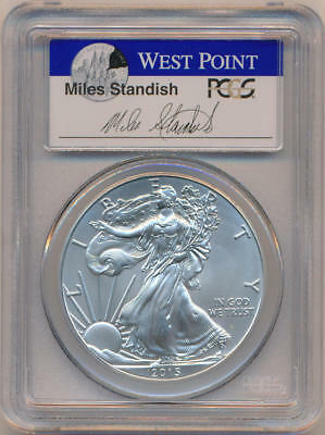 2015 W First Strike Silver Eagle. Miles Standish Label. PCGS MS69