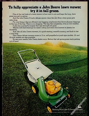 "1979 JOHN DEERE 21"" Deluxe Lawn Mower Vintage Photo AD"