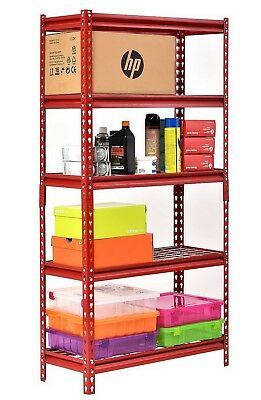 "Muscle Rack 5 Shelf Steel Shelving Unit 30"" x 12"" x 60"" Red Metal Storage Rack"