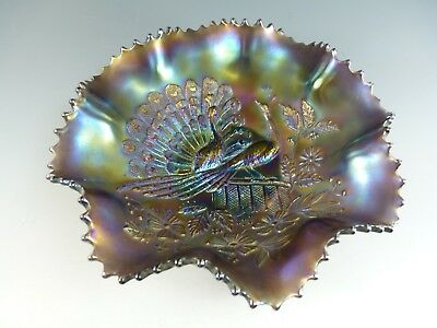 """NORTHWOOD Carnival Glass - Early - Peacock on a Fence Bowl - 9"""""""