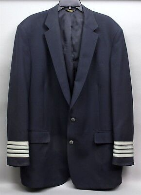 US AIRWAYS AIRLINE PILOT 4 BARS CAPTAIN'S UNIFORM JACKET Men's Size 44L by M&H