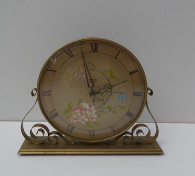 Smiths Sectric Vintage Clock Metal Floral