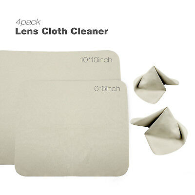 "2Pcs Washable Key Chain Cleaning Cloths for Lens DSLR Glasses TV Screen 10"" & 6"""
