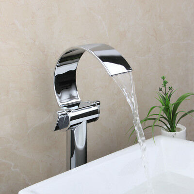 Waterfall  Chrome Bathroom Vessel Sink Faucet 2 Handles Basin Mount  Mixer Tap