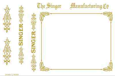 Singer Model 24-66 Sewing Machine Restoration Waterslide Decals