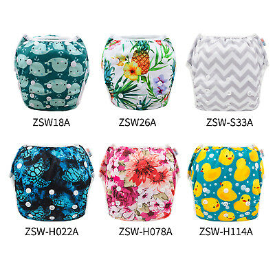 ALVABABY Big Size Reusable Swim Diapers Breathable Swim Nappies Cover Pool Pants