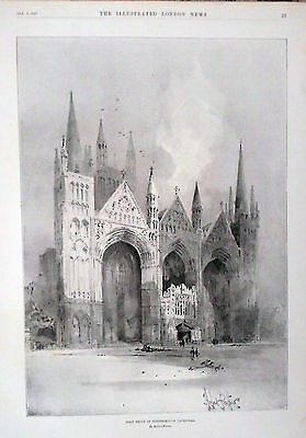1897 Print West Front Of Peterborough Cathedral