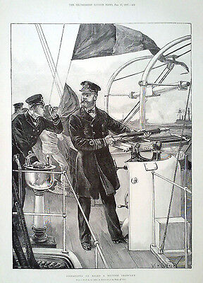 1897 PRINT SIGNALLING ON BOARD A BRITISH IRONCLAD by W H OVEREND