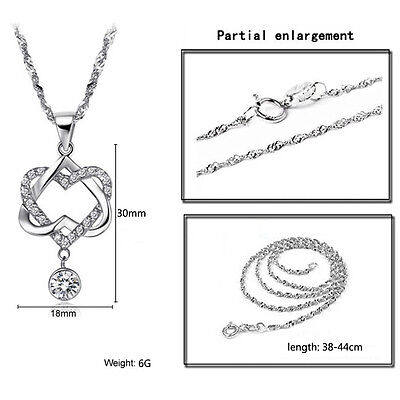 Fashion Women Double Heart Pendant Necklace Chain Jewelry 925 Sterling Silver