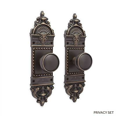 Chloe Small Decorative Door Plate & Beveled Round Knob Set in Dummy  Privacy & P