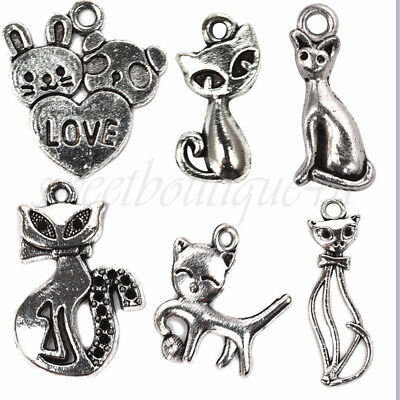 Antique Silver Funny Cats Charms Pendant Carfts DIY Jewelry Finding Wholesale