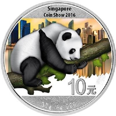China - 10 Yuan 2016 - Panda Coin Show Singapore - 30 gr. Silber ST - in Farbe