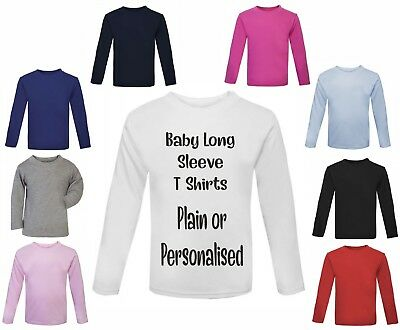 Personalised or Plain Baby and toddler long sleeved t shirt sizes up to 1-2 year