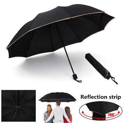 Handle Foldings Umbrella Anti UV Rain Sun Wind Resistant 10 Fiberglass Frames