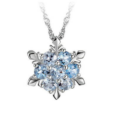 Women Rhinestone Snowflake Pendant Long Necklace Jewelry Christmas Gift BS