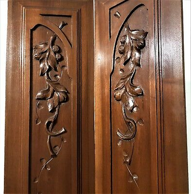 Pair fruit tree branch panel Antique french country farmhouse salvaged paneling